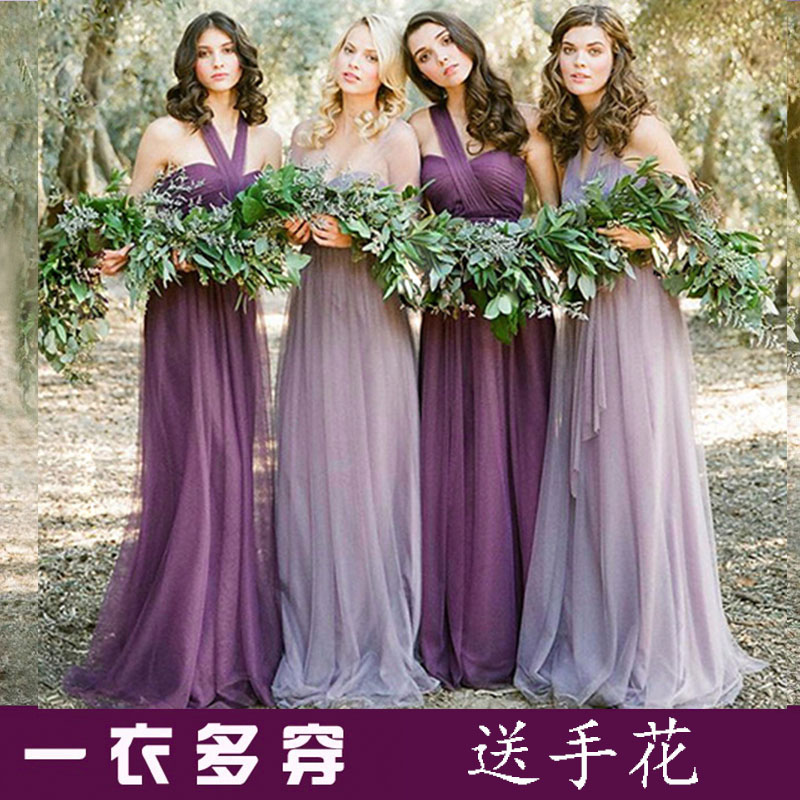 2017 New Bridesmaid Dresses Plus Size Stock Cheap Under $50 Sexy Romantic Sister Simple Elegant Fashion Purple One Shoulder Long