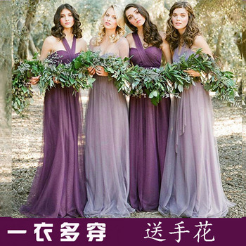 2017 new Bridesmaid Dresses plus size stock cheap under $50 sexy romantic sister simple elegant fashion purple one shoulder long