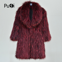 Pudi CT814 2018 Новинка зимы Модные женские из натурального меха енота вязать теплая куртка винно красный благородный Куртки свитера длинные паль