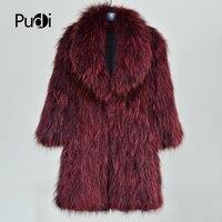 Pudi CT814 2018 Winter New Fashion women's real raccoon fur knit warm coat wine red noble jackets sweaters long coats