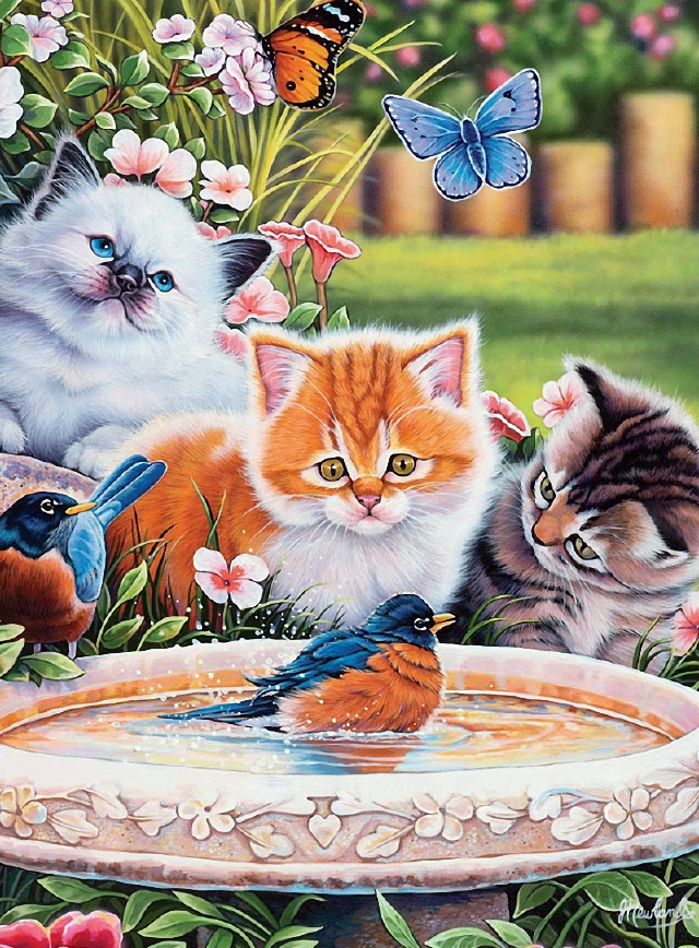 Moge diamond painting cats butteryfly bird embroidery cat flower Bird Mosaic female christmas set