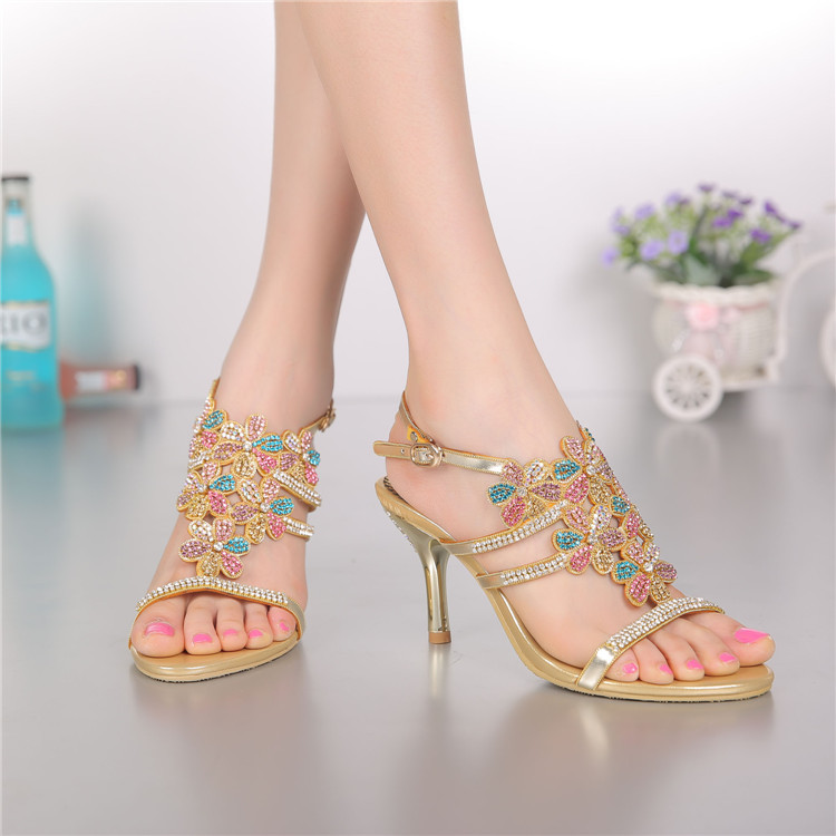 ФОТО Colorful Rhinestones Flower Women Sandals Gold Ladies Bridal Wedding Sandals With Rhinestones Shoes Size 11 Party Dance Shoe