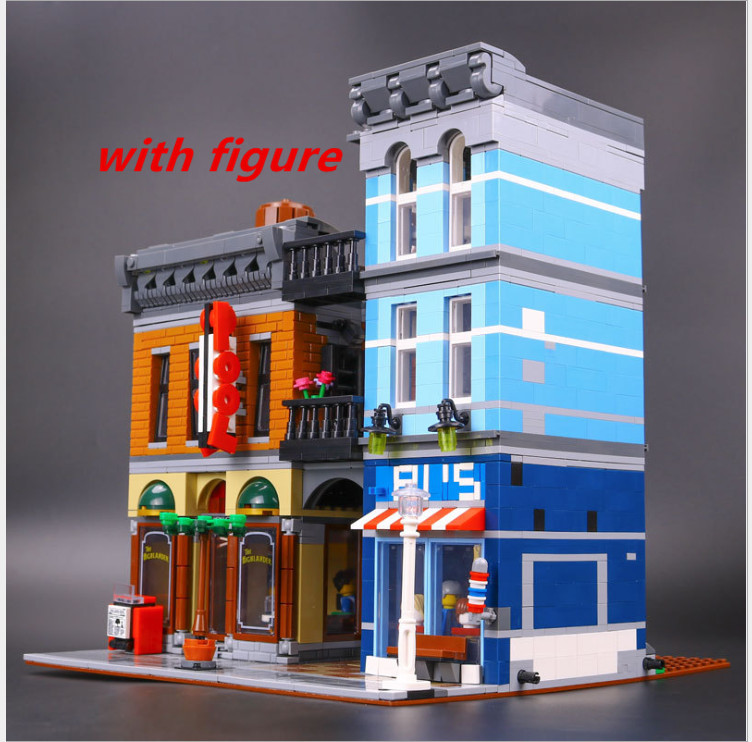 Lepin 15011 City Street Detective's Office House Model Building Blocks Set Bricks compatible  legoing creative 10246 More Stock lepin city town city square building blocks sets bricks kids model kids toys for children marvel compatible legoe
