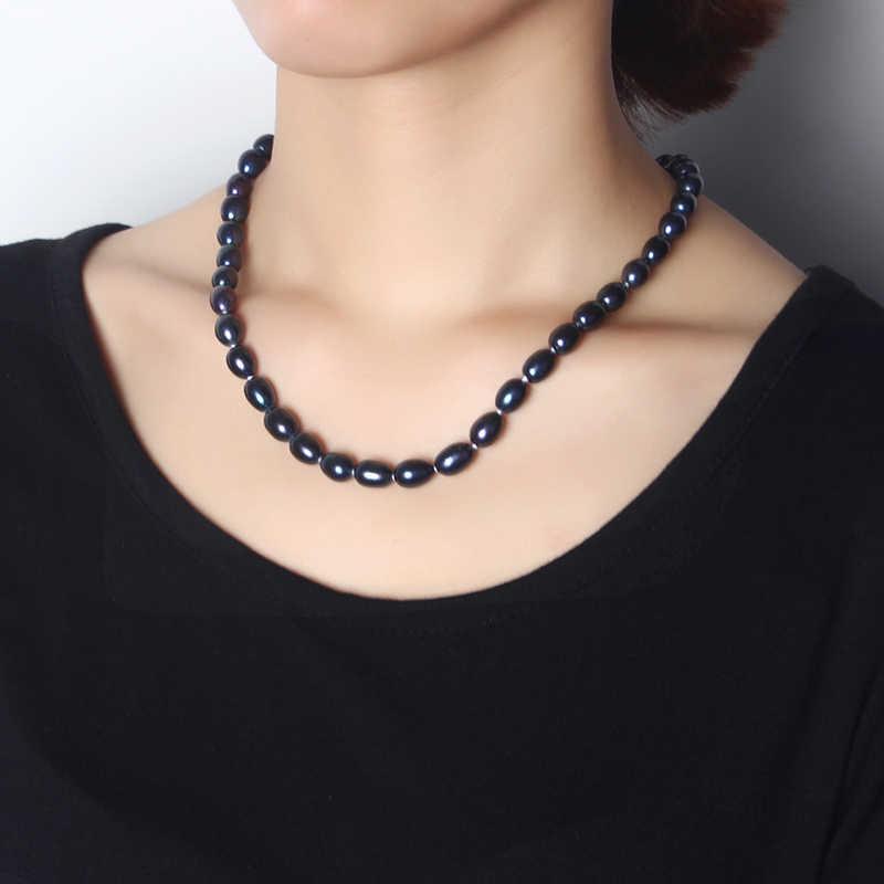 2018 Nouveau Naturel Noir Perle Bijoux Collier, Réel D'eau Douce 8-9mm Perle Avec Étoiles Boucle Femmes Collier, Boîte à Bijoux de mode