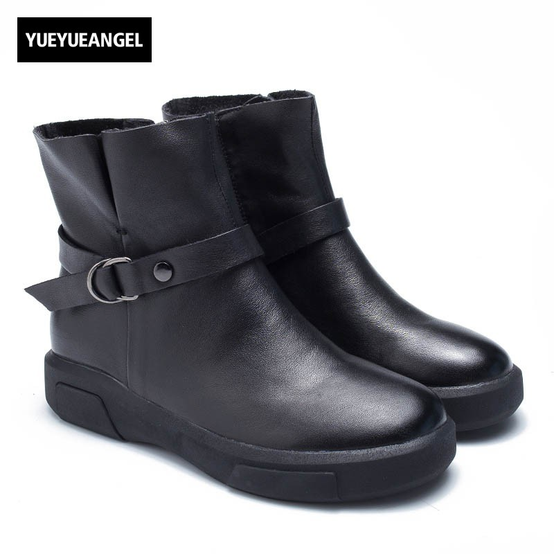 2018 New Winter Belt Buckle Women Boots High Quality Cow Leather Ankle Boots Casual Round Toe Side Zipper Martin Boots Zapatos high quality full genuine leather boots round toe buckle autumn winter riding martin boots punk women ankle boots