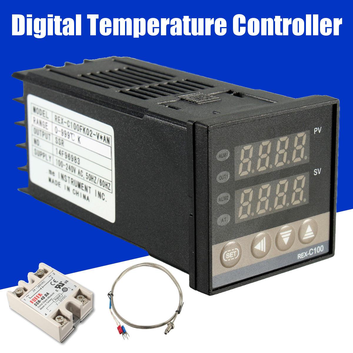 Hohe Qualität Digital 220 v PID Temperatur Controller + max.40A SSR + K Thermoelement PID Controller Set