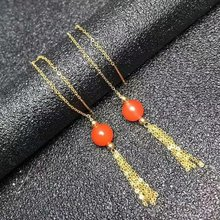 shilovem 18K yellow Gold real Natural south Red agate drop earrings fine Jewelry wedding new plant CUTE  gift myme6.5-7nh
