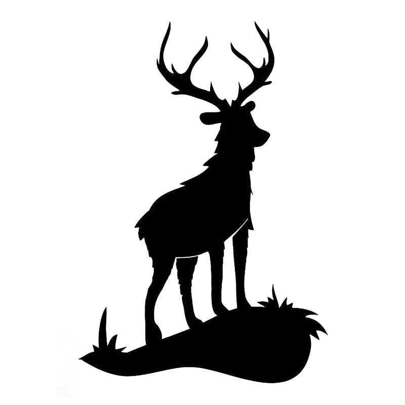 13.2cm*19.3cm Deer Animal Hunting Fashion Car Sticker Motorcycle Black/Silver S3-6107 ...