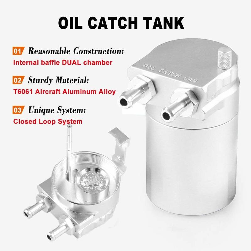 Oil Catch Can Tank Polish Baffled Reservoir Aluminum Universal Car Truck Engine 300ml Black