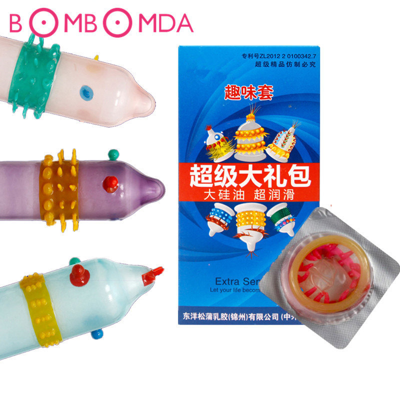 6PCS/box Adult Sex Products Extra Sensitive Penis Sleeve Female G-spot Vaginal Stimulation Condoms Ribbed Dotted Spike Condom