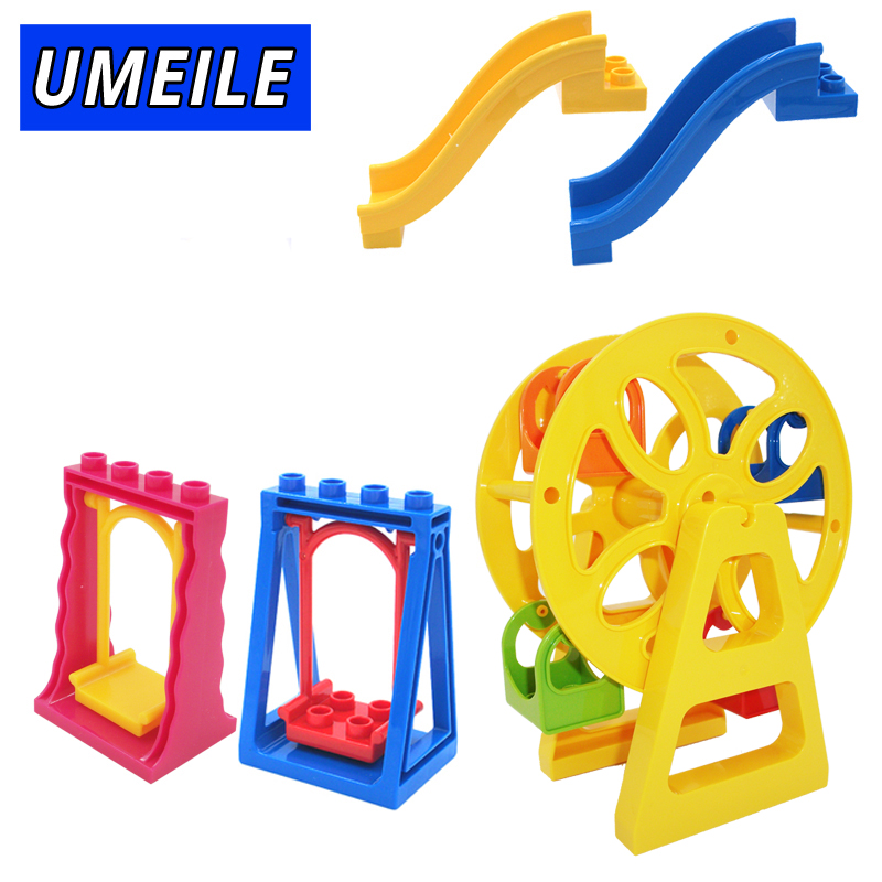UMEILE Brnad Amusement Park Large Building Blocks Swing Ferris Wheel Slide Assemble Brick Toys Brinquedos Compatible with Duplo kid s home toys large particles happy farm animals paradise model building blocks large size diy brick toy compatible with duplo