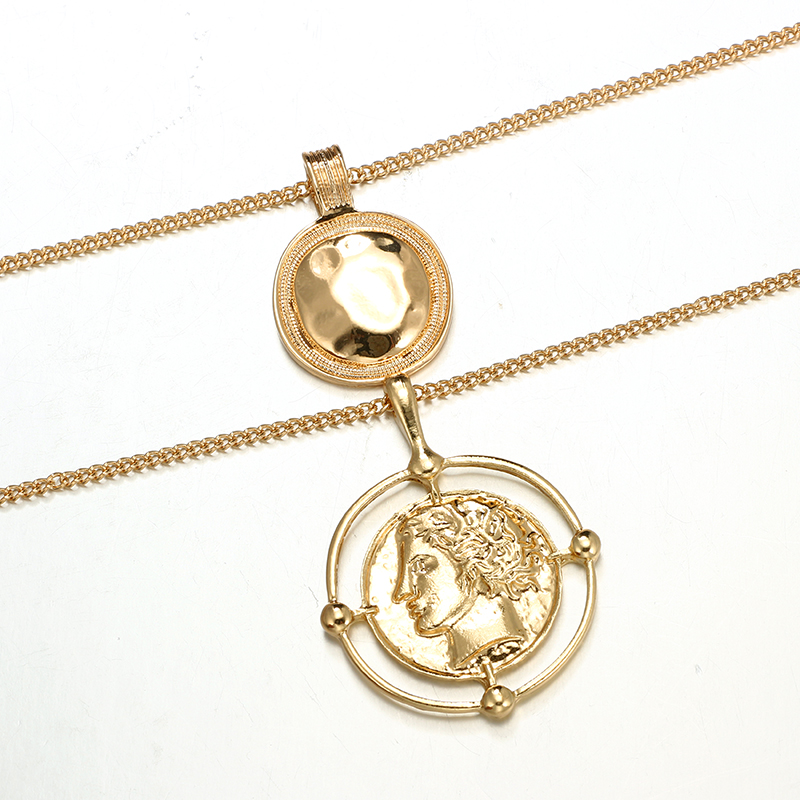 docona Punk Large Round Coin Pendant Necklace for Women Geometric Carved Charms Layered Necklaces Statement Jewelry Collars 6667 in Pendant Necklaces from Jewelry Accessories