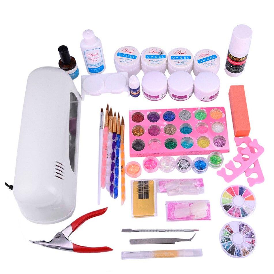 ФОТО 30 pcs/set Nail Tools Set Kit Combination:Therapy Machine+False Nails+Extended Gel+Painting Pens+Toe Seperator+Nail Clipper