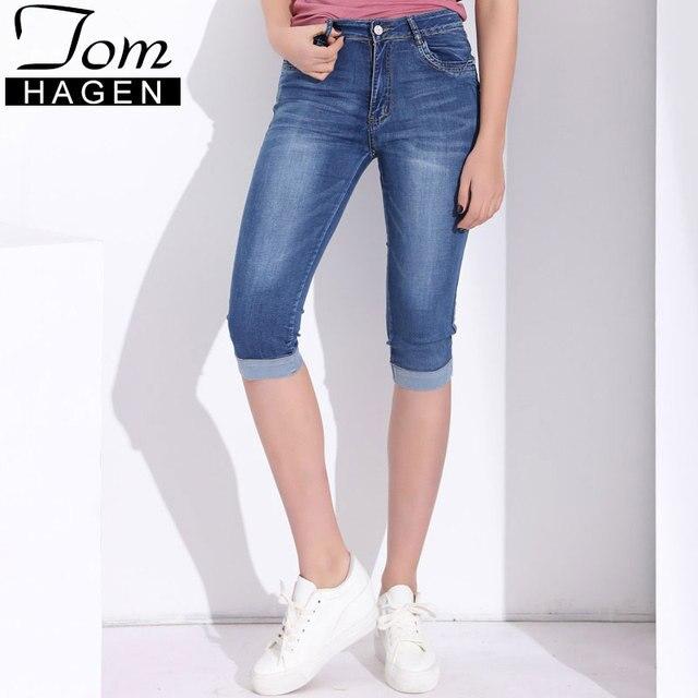 8b2018c4eda Tom Hagen Summer Pants Women With High Waist Women s Denim Jeans Plus Size  Skinny Capris Jeans