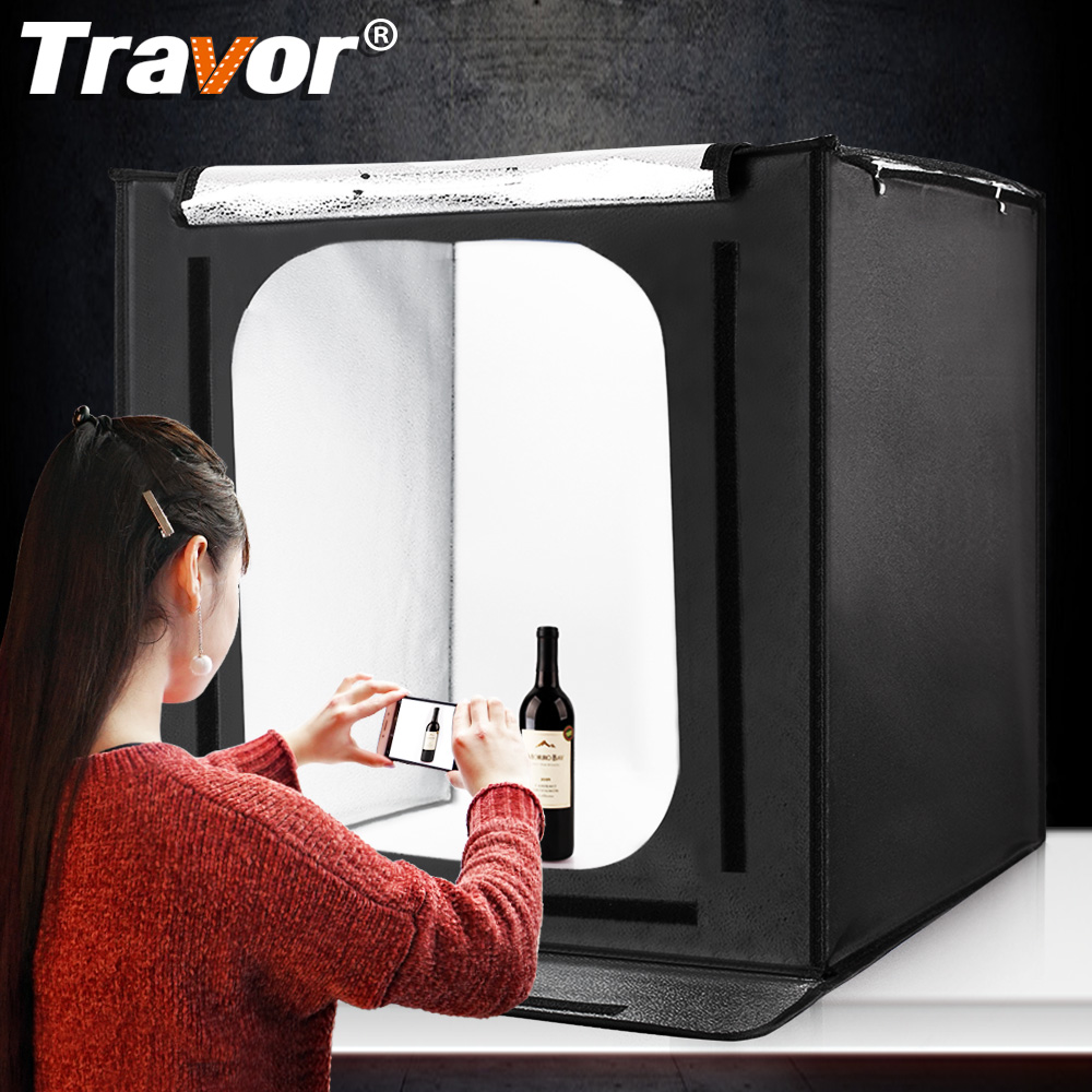 Travor F60 Softbox Transportable Led Gentle Field Studio Photograph 60*60Cm With Three Colours Background For Pictures Lightbox