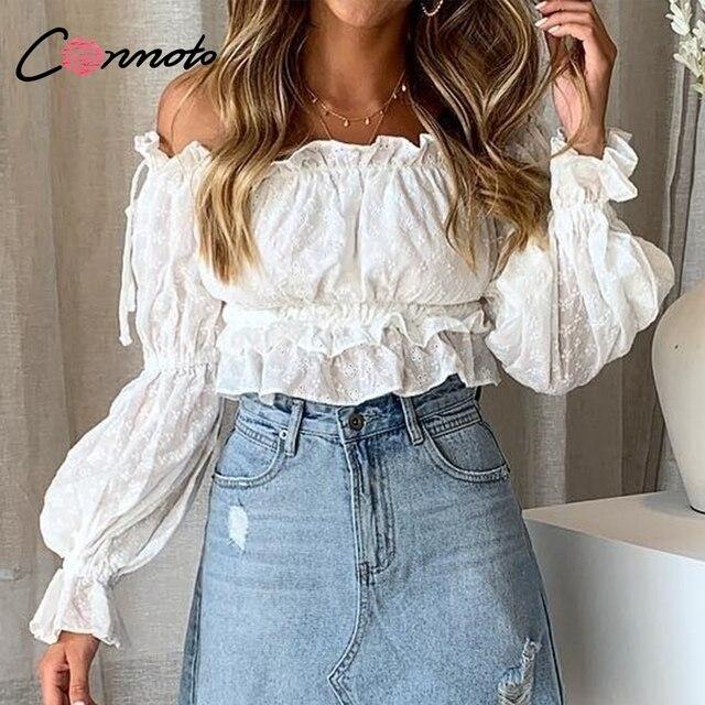 Conmoto בציר לבן רקמת נשים יבול צמרות חולצה 2019 חדש כבוי כתף סלאש צוואר חולצה ילדה שרוול פנס חולצה