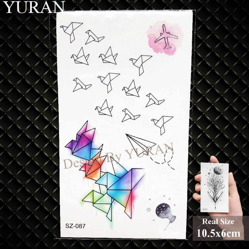 YURAN Suluboya Kuşlar Geçici dövme çıkartmalar Çocuk Kol Sanat Su Geçirmez Dövmeler Denizanası Erkek Karikatür Sahte Dövme Kadın Köpek