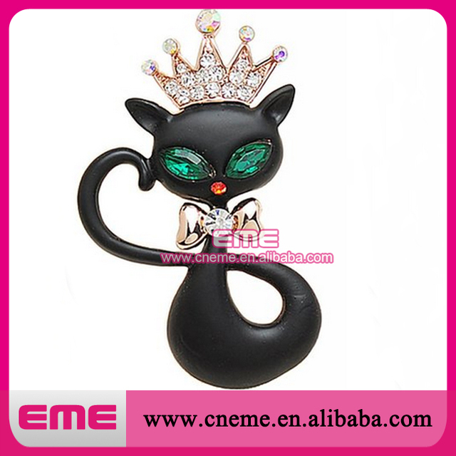 Women S Crowned Black Cat Queen Pin Brooch In Brooches From Jewelry