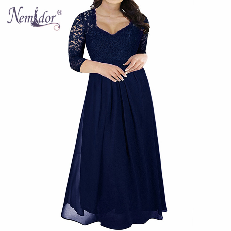 Nemidor Hot Sales Women Elegant Lace Top Deep V-neck Chiffon Party Dress Vintage 3/4 Sleeve Plus Size 8XL 9XL Long Maxi Dress