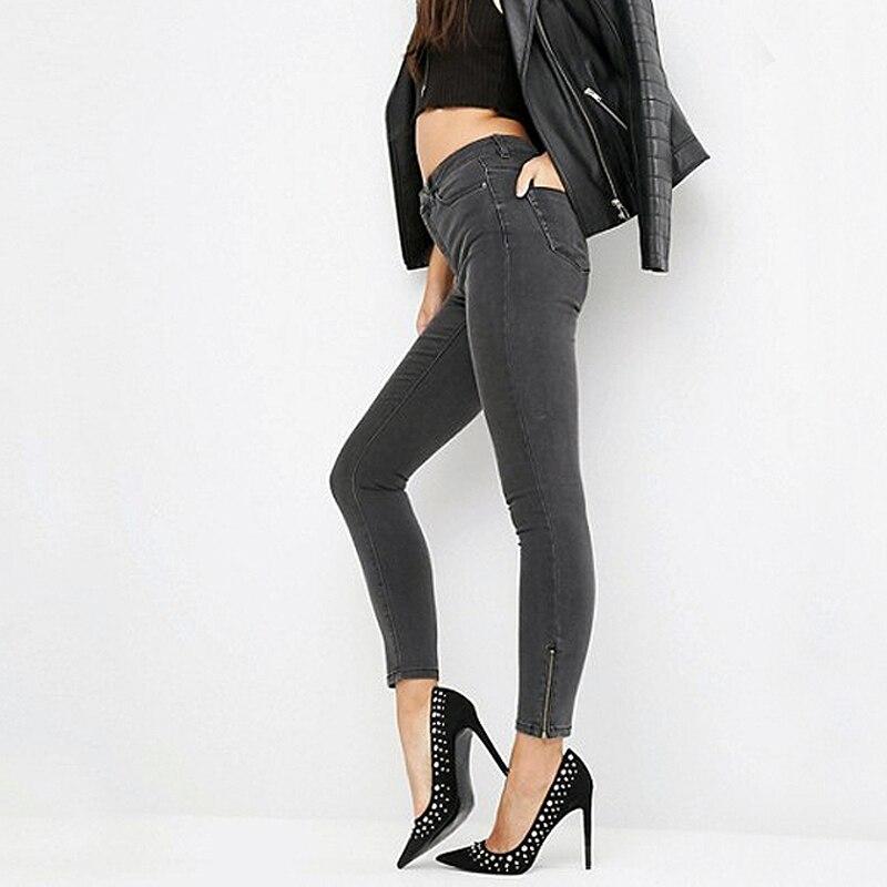 Women Skinny black Jfreddy eans with Zip Side Hem 9 Colors Mid-Waist Side Zipper Pants Candy Stretch Twill Pencil Jeans female рюкзак case logic 17 3 prevailer black prev217blk mid