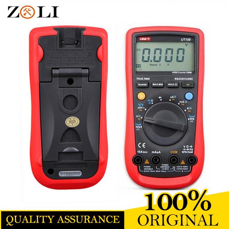 UNI-T UT109 Auto Ranging Automotive Multimeters UT109 professional Multimeter Multimetro Volt Amp Ohm Capacitance Temp Frequency