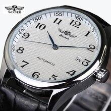 2016 Relojes Hombre marque étiquettes gagnant montre hommes bracelet en cuir montres mécaniques décontracté hommes montre-bracelet hommes Horloge