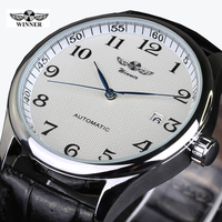 2016 Relojes Hombre Brand Tags Winner Watch Men Leather Strap Automatic Mechanical Watches Fashion Casual Wristwatch