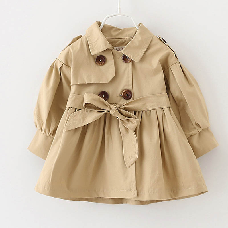 Autumn Winter Baby Girls Trench Coat Long Outerwear Double Breasted Kids Overcoat Children Windbreaker Trench Outerwear Coat цена 2017