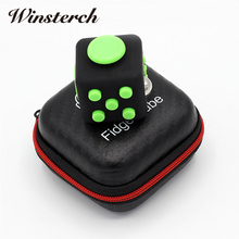 3.3cm Fun Set Fidget Cube With Case Desk Finger Toy Squeeze Stress Reliever Glide Flip Spin Spinner Box For Kids Adults ZG008