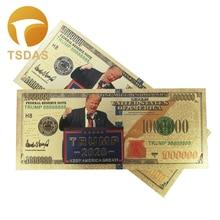 Gold Plated Donald Trump 2020 24K Dollars Decoration Banknotes 10pcs/lot Banknote Drop Shipping