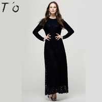 JTCWEAR Europe Style Muslim Lace Long Dress Long Sleeve Abaya Jalabiya Elegant Islamic Woman Robe Clothing