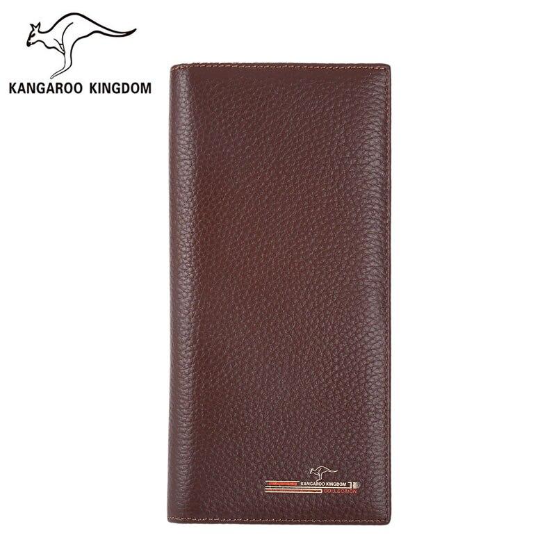 Kangaroo Kingdom Luxury Men Wallets Genuine Leather Long Wallet Famous Brand Male Card Holder Purse Fashion