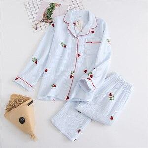 Image 3 - 2019 New Ladies Pajamas Set Cartoon Ladybug Printed Crepe Cotton Gauze Simplicity 2 Piece Set Women Soft Comfort Household Wear