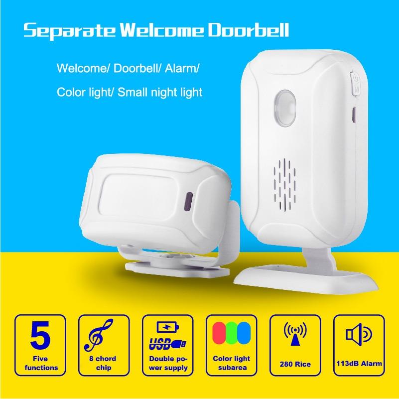 цена на Alarm Welcome IR Infrared Motion Sensor Doorbell Detection Distance Chime Radio Distance Reach 280 Meters Home Shop Door Bell