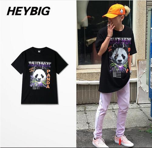 c97969d458 Heybig Eu ME SINTO COMO o PANDA Masculino Camisa Impressão 3d Qualidade  puro Algodão T Camisa Regular Manga Comprida Streetwear Estrela Engraçado T  camisas ...