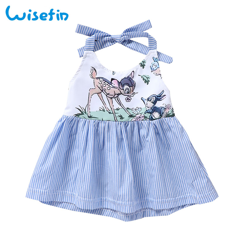 Wisefin Newborn Dress Party Striped Baby Girls Dresses Animal Sika Deer Princess Dress Infant Girl Vestidos Strap Summer Clothes