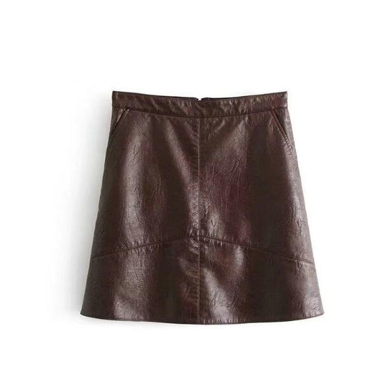 be7ca3b95 2017 Women High Waisted Faux Leather Skirt A Line Mini Pu Leather Skirt  Yellow Burgundy Pink Black Blue Color Leather Skirts-in Skirts from Women's  Clothing ...