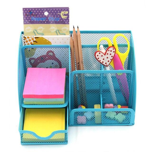 Online Shop Steel Mesh Wire Desk Organizer Home Office Caddy Storage ...