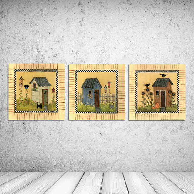 3PCS Classic Retro Cute Cabin Building Canvas Oil Painting Art Wall ...