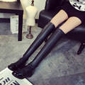 2016 New Women Boots Autumn Winter Hot Fashion Ladies Sexy Knee High Boots Zipper Long Boots Thick High Heels Flock Women shoes