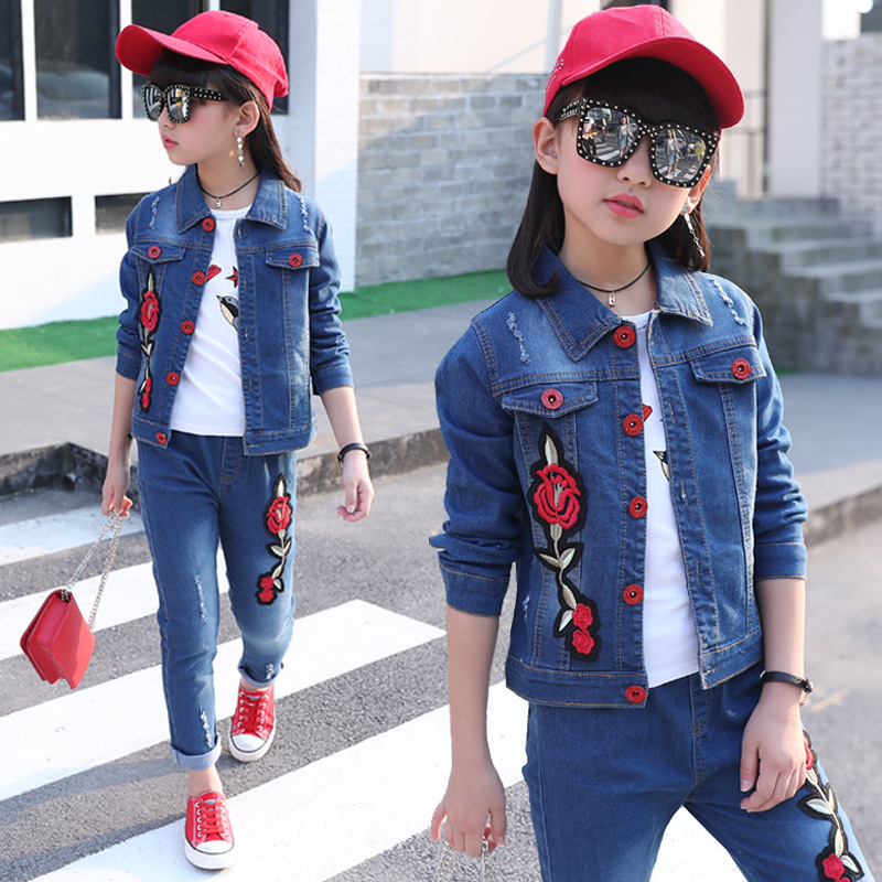 2018 new fashion children's clothing sets baby girl denim coat+jeans trousers body suit flower print two-piece sets clothes men s spring fashion casual sport print hood sweatshirts trousers two piece suit