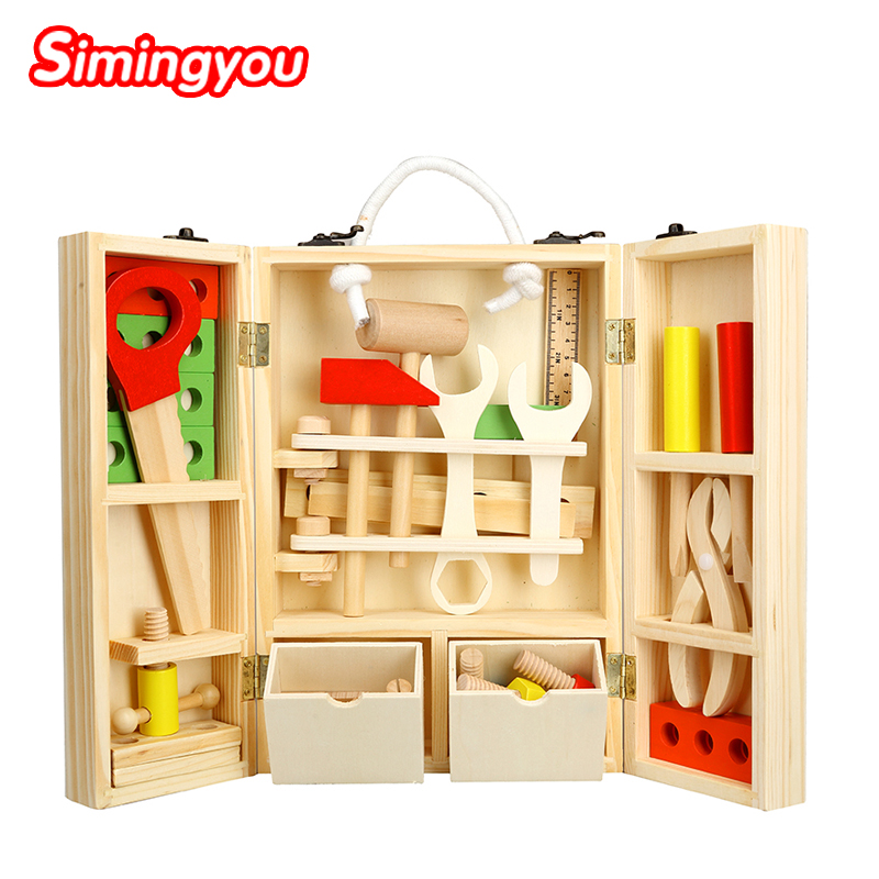 Simingyou New House Wooden Puzzle Children font b Toy b font Toolbox Service Simulation Toolbox Nut