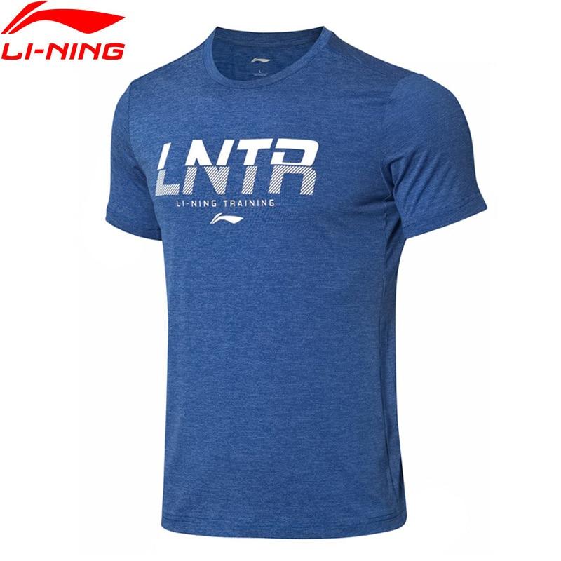 Li-Ning Men Training Series T-Shirt Breathable 88% Polyester 12% Spandex Regular Fit LiNing Li Ning Sports Tee ATSP077 MTS3066