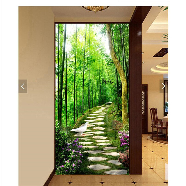 Wall Paper 3d Art Mural Hd Bamboo Forest Green Stone Road Covering Home Decor Modern Wall