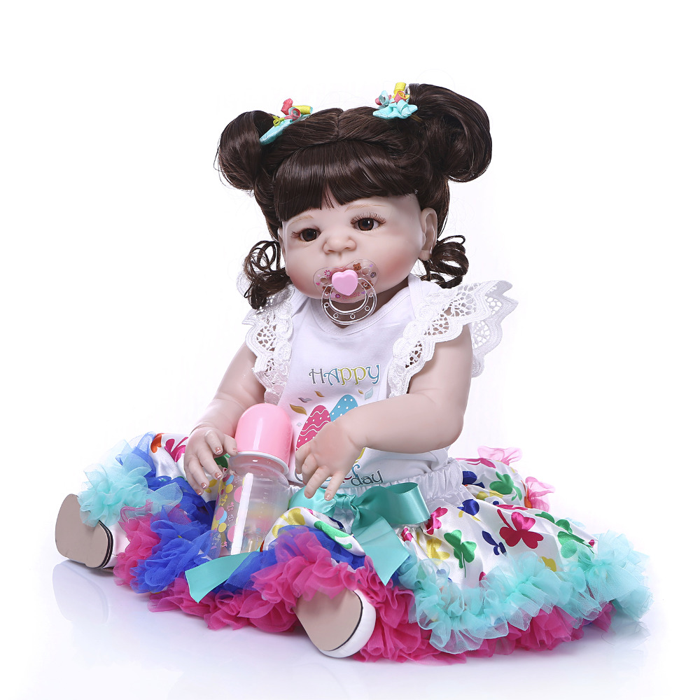 Nicery 22inch 55cm Bebe Reborn Doll Hard Silicone Boy Girl Toy Reborn Baby Doll Gift for Child White Clothes Colorful Dress Doll nicery 22inch 55cm bebe reborn doll hard silicone boy girl toy reborn baby doll gift for child purple dress blue eyes baby doll