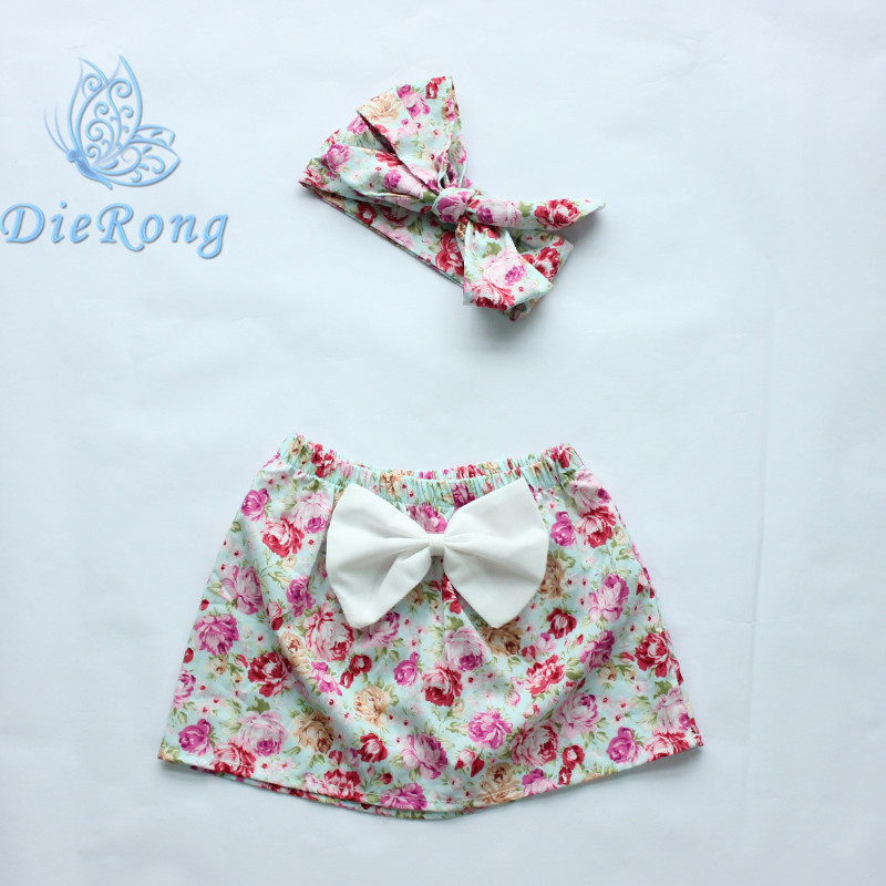 2016 new style baby girl skirts flower printed boutique girls clothes with headband fresh style skirt children's clothing