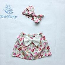 2016 новый стиль девочка юбки цветок печатных бутик девушки одежда с оголовьем свежий стиль юбка детская одежда