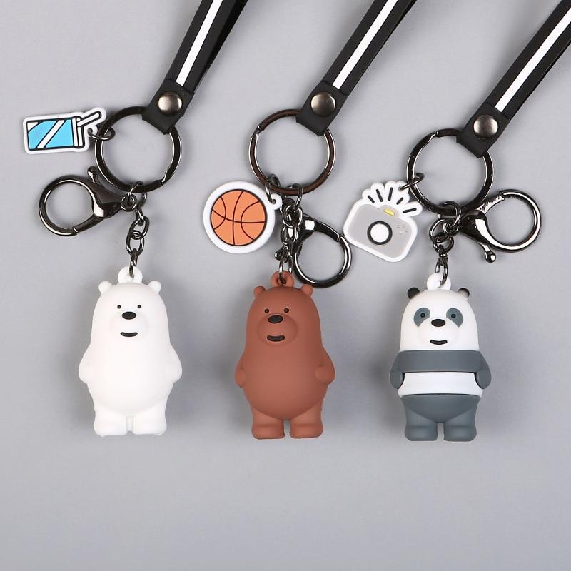 New Cartoon Anime We Bare Bears Cute Three Animal Doll Keychains Women Car Bag Pendant Belt Trinkets Key Chains Porte Clef