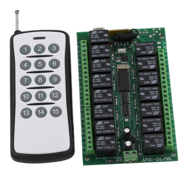 New Sale DC24V 15CH RF Wireless Switch Remote Control System Receiver&Transmitter Momentary Toggle Latched Adjust Learning new rf wireless switch wireless remote control system 2transmitter 12receiver 1ch toggle momentary latched learning code 315 433