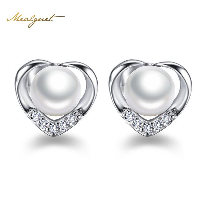 Meaeguet Real 925 Sterling Silver Coração Brinco Com Shell Pearl & CZ Pedra Mulheres Brincos Acessórios Do Casamento